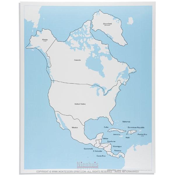 North America Control Map Labeled Montessori Spirit