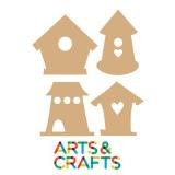 Ensemble de 4 formes maison à oiseau en MDF à décorer
