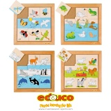 Animals puzzles - complete set of 4
