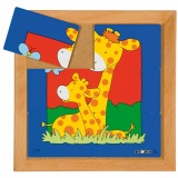 Animals puzzles - Mother and child - giraffe (6 pieces)