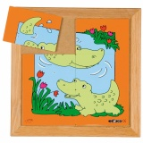 Animals puzzles - Mother and child - crocodile (6 pieces)
