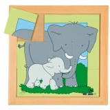Animals puzzles - Mother and child - elephant (9 pieces)