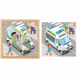 Puzzle in 2 layers - ambulance