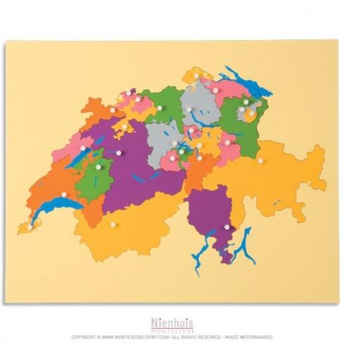 Carte puzzle de la Suisse
