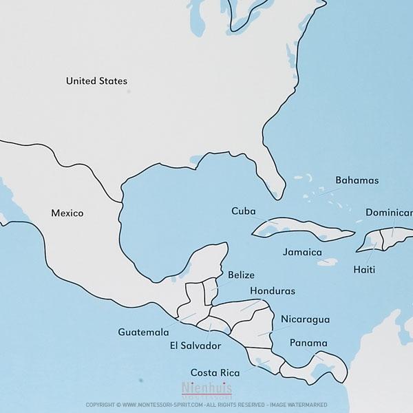 Carte Cuba Amerique.Carte De Controle D Amerique Du Nord En Anglais Montessori Spirit