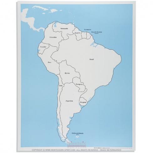 Carte de contrôle d'Amérique du Sud en anglais