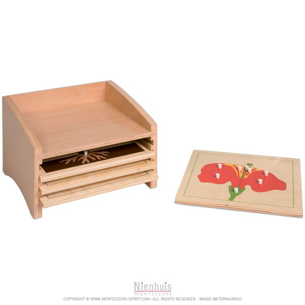 cabinet de rangement des puzzles de botanique montessori spirit. Black Bedroom Furniture Sets. Home Design Ideas
