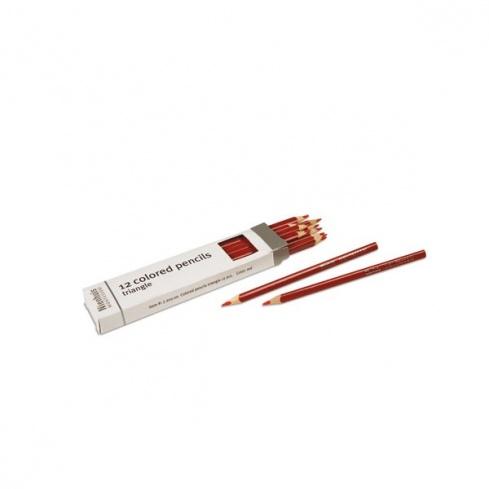 Boite de 12 crayons à 3 côtés : rouge