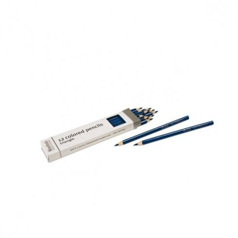 Boite de 12 crayons à 3 côtés : bleu foncé