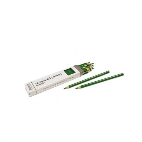 Boite de 12 crayons à 3 côtés : vert