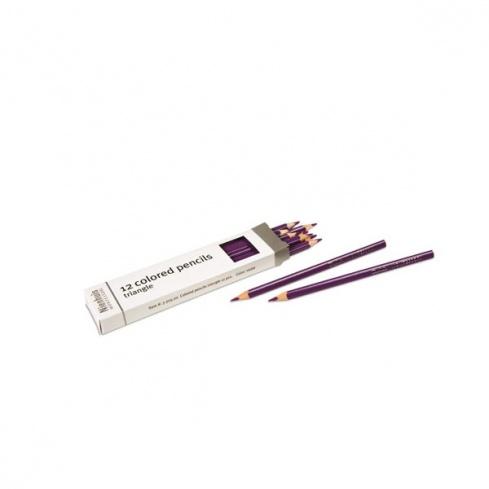 Boite de 12 crayons à 3 côtés : violet