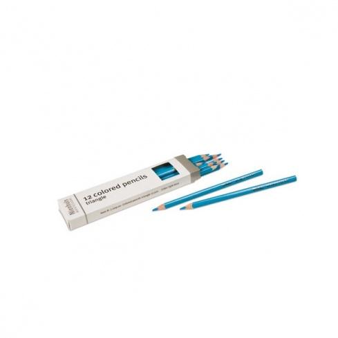 Boite de 12 crayons à 3 côtés : bleu clair