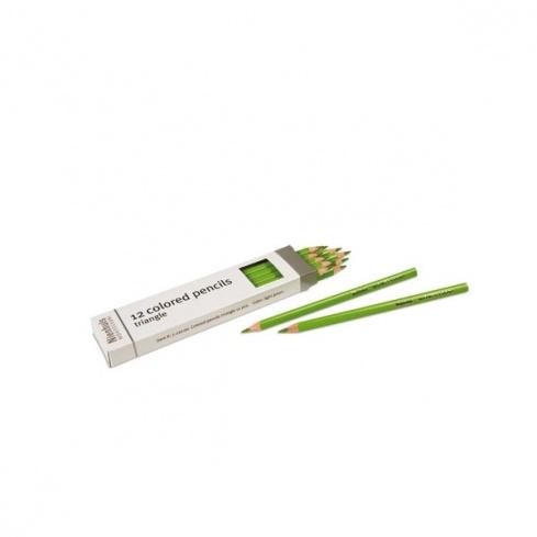 Boite de 12 crayons à 3 côtés : vert clair