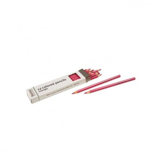 Boite de 12 crayons à 3 côtés : rose