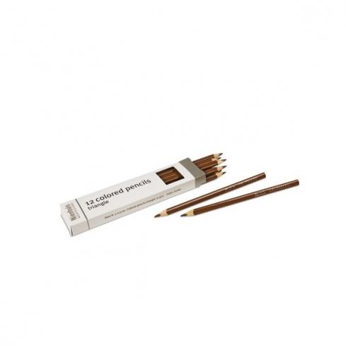 Boite de 12 crayons à 3 côtés : marron