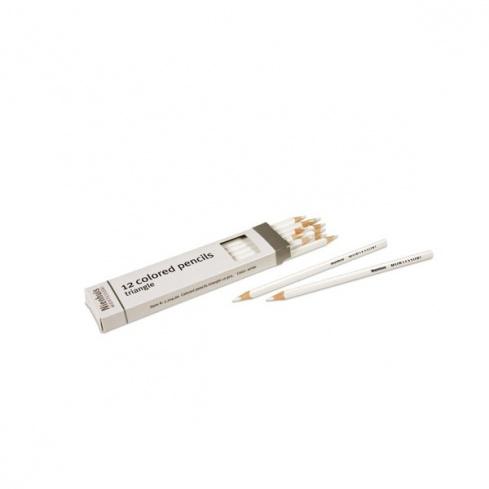 Boite de 12 crayons à 3 côtés : blanc