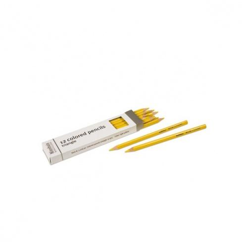 Boite de 12 crayons à 3 côtés : jaune clair