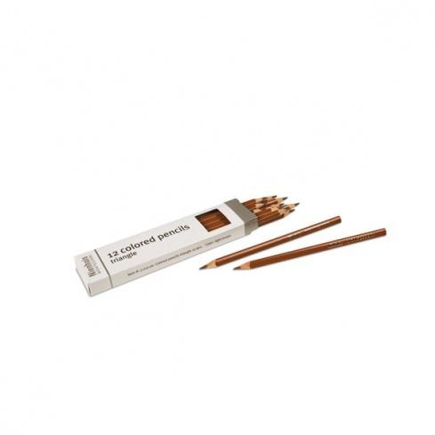 Boite de 12 crayons à 3 côtés : marron clair