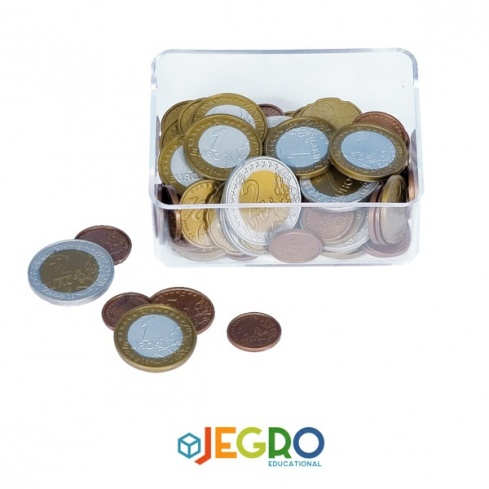 Euro coins assortment in box