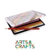Crayons forme triangulaire - 12 couleurs assorties dans boite métal