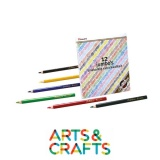 Crayons forme triangulaire - Pointe 5 mm - 12 couleurs assorties dans boite métal
