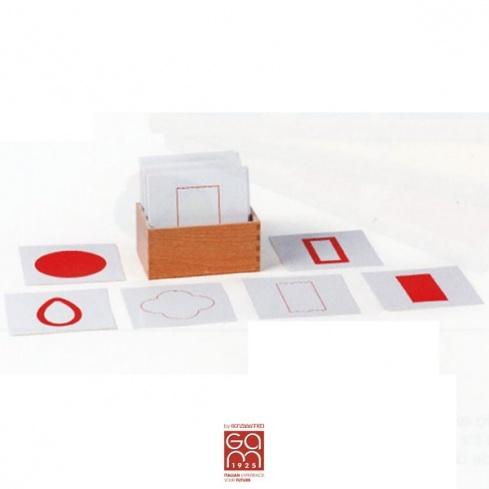 Cartes des formes de géométrie blanches et rouges (sans la boite)