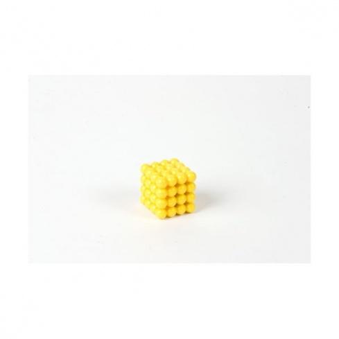Cube de 4 en perles connectées nylon jaune