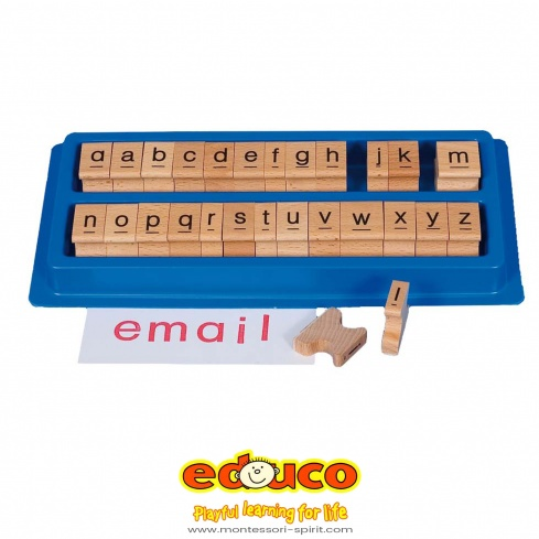 Letter stamps in plastic box