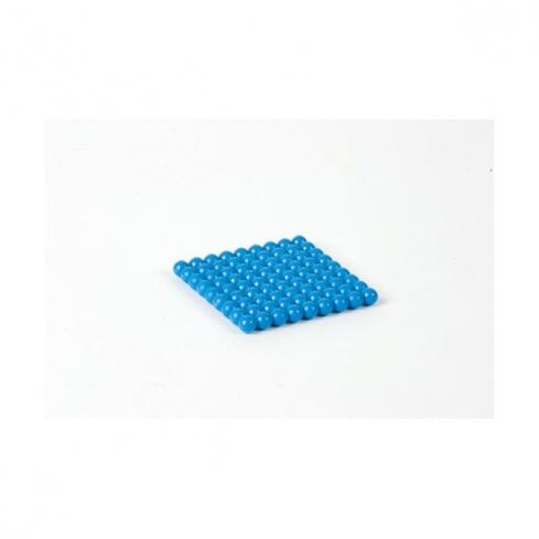 Carré de 9 en perles connectées nylon bleu foncé