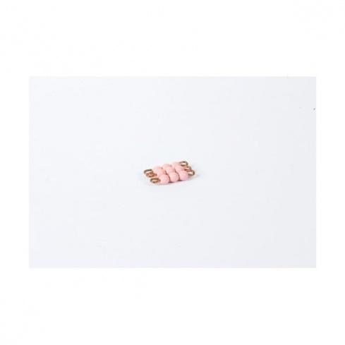 Carré de 3 en perles de verre individuelles : rose