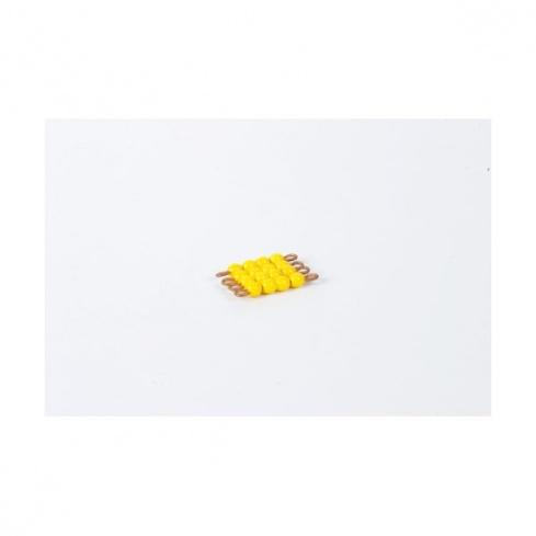 Carré de 4 en perles de verre individuelles : jaune