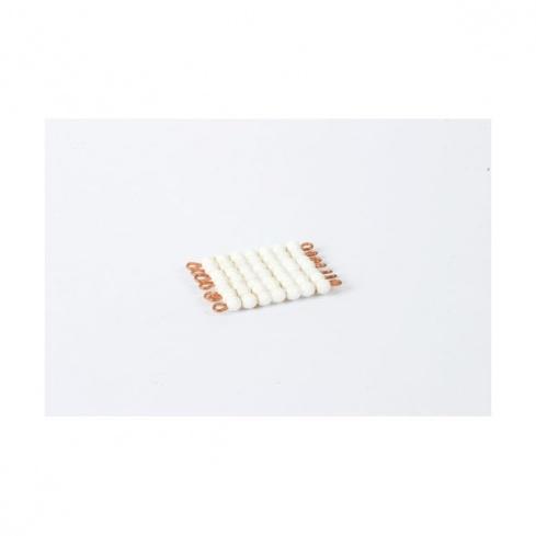 Carré de 7 en perles de verre individuelles : blanc