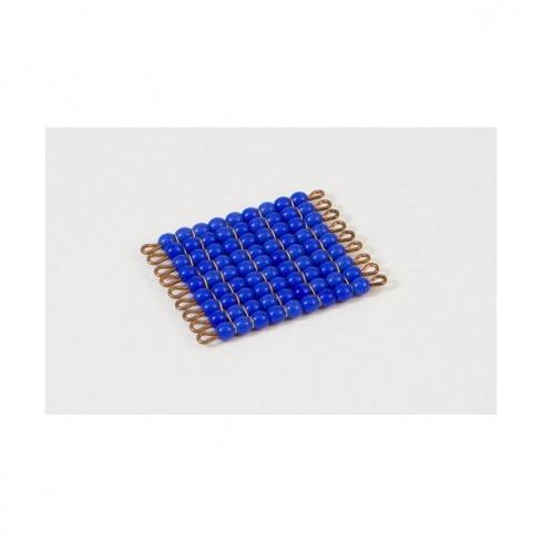 Carré de 9 en perles de verre individuelles : bleu foncé