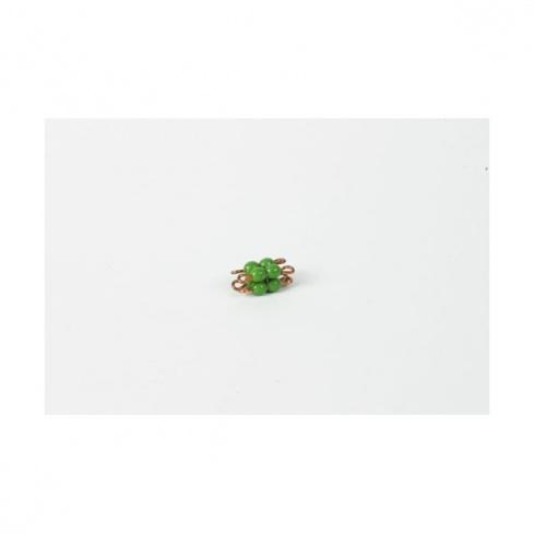 Cube de 2 en perles de verre individuelles : vert