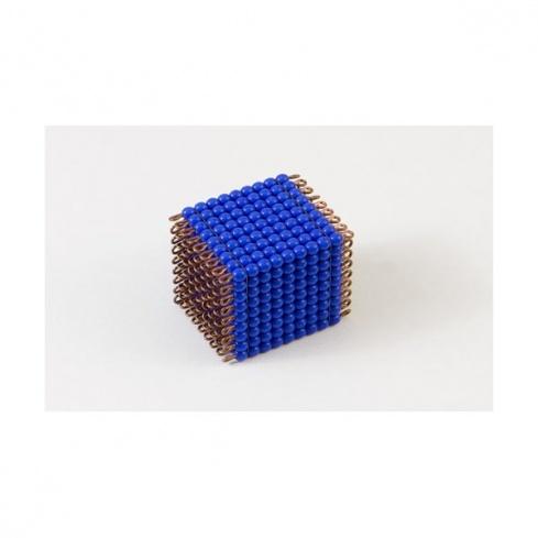 Cube de 9 en perles de verre individuelles : bleu foncé