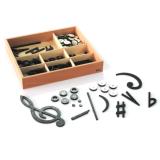 Satz Notenschriftzeichen in acht Kunststoffdosen